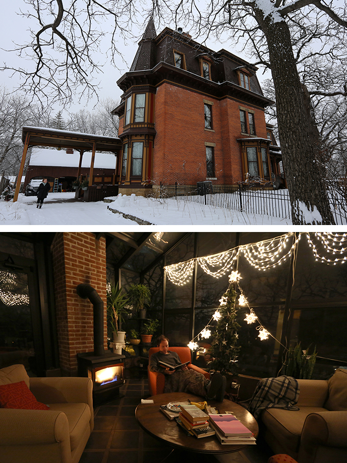 Building exterior (top) and Adam in the solarium (bottom) of the Hastings rental.