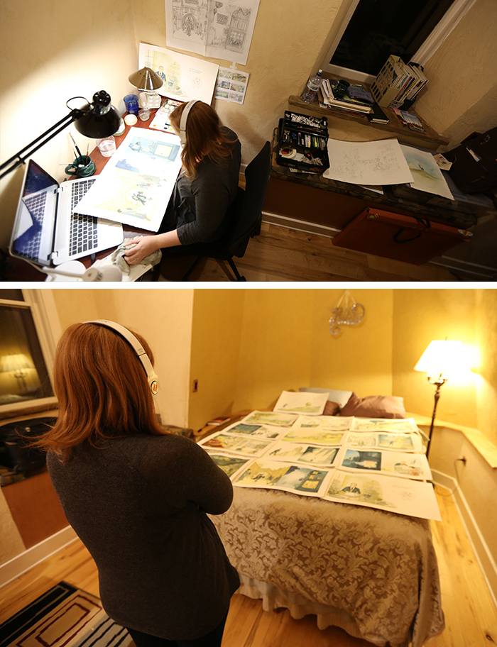Work space set up in Hastings rental (top) and surveying the book progress (bottom)